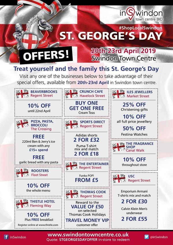 Shop local and save this St George's Day in Swindon town centre!