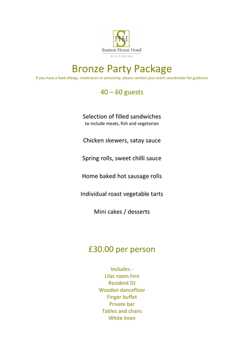 Stanton House Hotel's Party Package