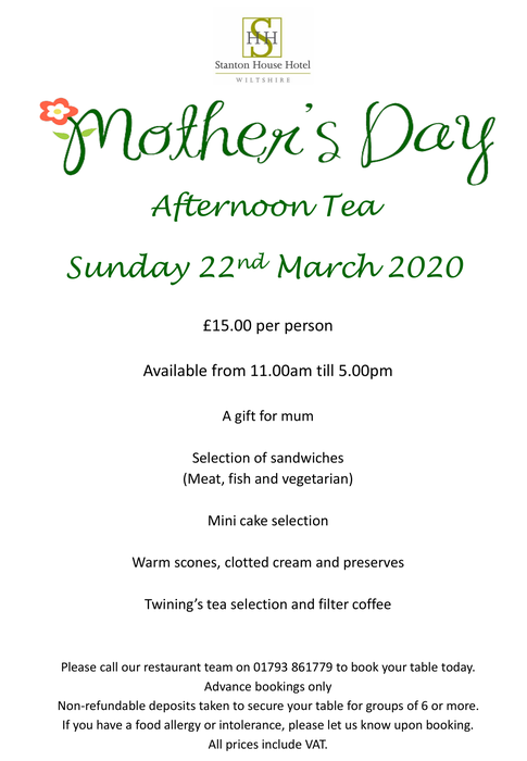 Mother's Day Afternoon Tea at Stanton House Hotel