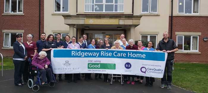 Ridgeway Rise care home has celebrated the great success after being rated 'Good' in all areas by Care Quality Commission