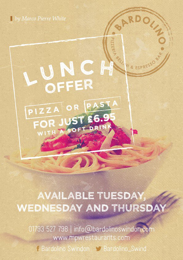 Bardolino Swindon Pizza or Pasta Lunch Offer