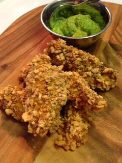 Recipe: Dukkah Chicken Strips with Watercress & Walnut Pesto