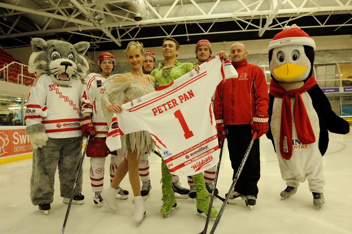 Snapped: Peter Pan & Tinkerbell Fly Over to Swindon Ice Arena to Meet The Wildcats