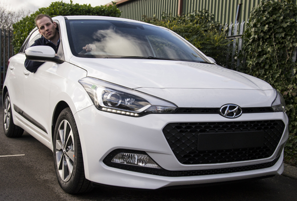 Sales executive Sean Quirk behind the wheel of the new generation Hyundai i20